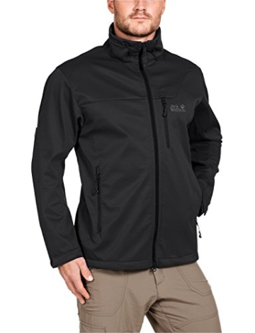 Jack Wolfskin Herren Softshelljacke Assembly Jacket Men, Black, S, 1300283-6001002 - 1